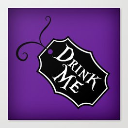 """Drink Me"" Alice in Wonderland styled Bottle Tag Design in 'Shy Violets' Canvas Print"