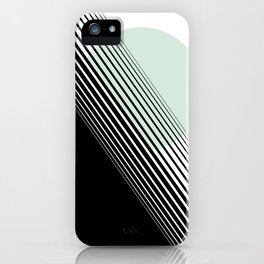Rising Sun Minimal Japanese Abstract White Black Mint Green iPhone Case