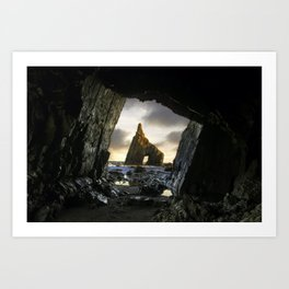 Sunrise from inside the cave of Campiecho in Asturias, Spain. Art Print