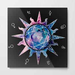 Crystal Sun | Planet Symbol | Watercolor Metal Print