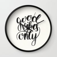 good vibes Wall Clocks featuring Good Vibes by Corina Rivera Designs