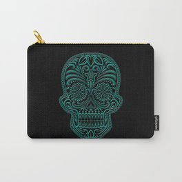 Intricate Teal Blue and Black Day of the Dead Sugar Skull Carry-All Pouch