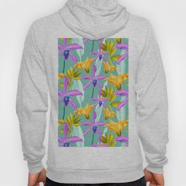 Bold AND Bright Tropical Colored Purple Orchids and Yellow Lilies Hoody