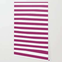 Amaranth deep purple - solid color - white stripes pattern Wallpaper