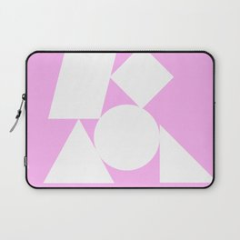White shapes on a bubblegum background Laptop Sleeve