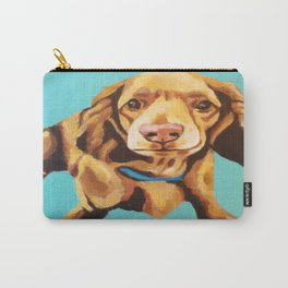 Miniature Long Haired Dachshund Painting on Blue Turquoise  Carry-All Pouch