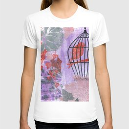 stuck in the moment with red bird: linocut T-shirt