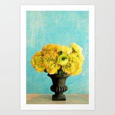 Flower in blue room Art Print