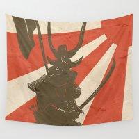 samurai Wall Tapestries featuring Samurai by Riku Forsman