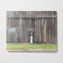 Girl and Barn Metal Print