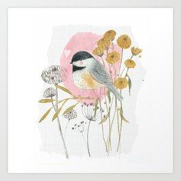 Chickadee and flowers Art Print