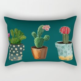 Three Cacti With Flowers On Green Background Rectangular Pillow