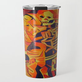 A Skeleton and Corpse Embracing Death Travel Mug