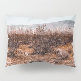 Desert and wind turbine with mountain view at Kern County California USA Pillow Sham