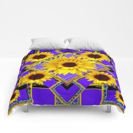 AMETHYST COLOR PURPLE SUNFLOWER ART Comforters