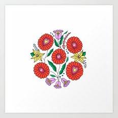Hungarian embroidery inspired pattern white Art Print