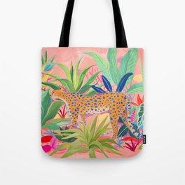 Leopard in Succulent Garden Tote Bag