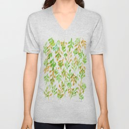 180726 Abstract Leaves Botanical 5|Botanical Illustrations Unisex V-Neck