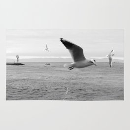 black and white flying birds on the sea Rug