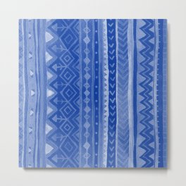 Blue Tribal stripes Metal Print