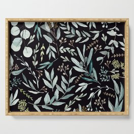 Black Eucalyptus Pattern Serving Tray