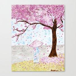 Cherry Tree Geisha Canvas Print