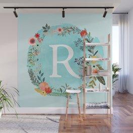 Personalized Monogram Initial Letter R Blue Watercolor Flower Wreath Artwork Wall Mural