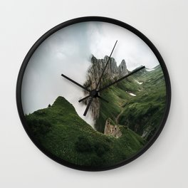 Foggy mountain ridge in Switzerland - Landscape Photography Wall Clock