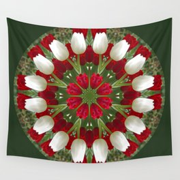 Tulip Kaleidoscope - Red And White Wall Tapestry
