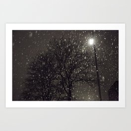 Snow in the dark Art Print
