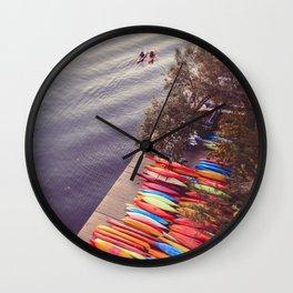 Colorful Kayaks Along The River Wall Clock
