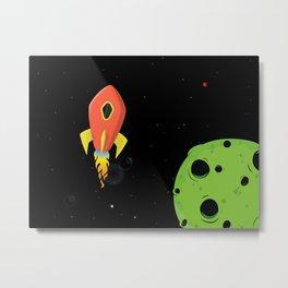 Orange Rocket Ship Metal Print