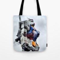 gundam Tote Bags featuring Gundam Pride by Julie Maxwell