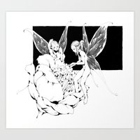 pixies Art Prints featuring Pixies by Andrew Mar