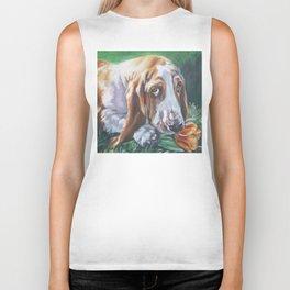 Beautiful Basset Hound dog portrait art an original painting by L.A.Shepard Biker Tank