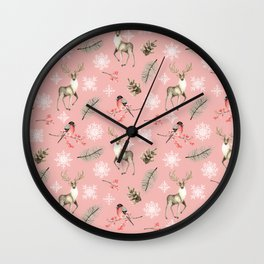 Xmas Pattern Pink #socieyt6 #buyart Wall Clock