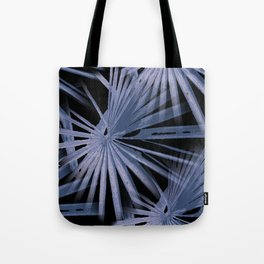 Blue on Black Tropical Vibes Beach Palmtree Vector Tote Bag