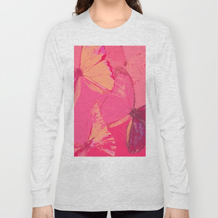 Butterflies in red shades Long Sleeve T-shirt