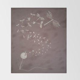 Dandelion's metamorphosis Throw Blanket