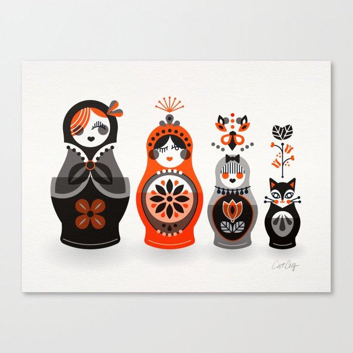 Russian Nesting Dolls – Red & Black Canvas Print