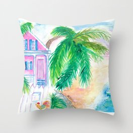Key West Conch House And Beach with Rooster Throw Pillow