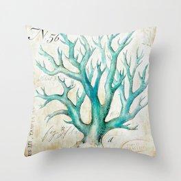 Blue Coral No. 2 Throw Pillow