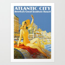 Atlantic City New Jersey - Retro Travel Art Print