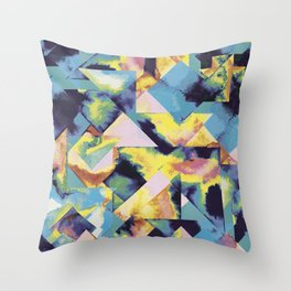 Blue colored tiles Throw Pillow