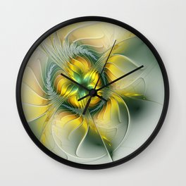 Golden Fantasy Flower, Fractal Art Wall Clock