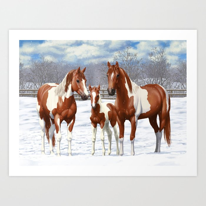 Chestnut Pinto Paint Horses In Snow Art Print By Csforest Society6