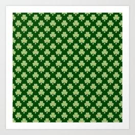 Shamrock Clover Polka dots St. Patrick's Day green pattern Art Print