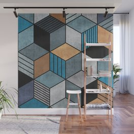 Colorful Concrete Cubes 2 - Blue, Grey, Brown Wall Mural