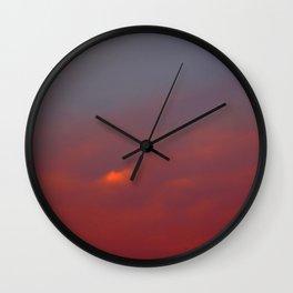 Red cloud shining at sunset Wall Clock