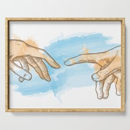 creation of adam hand drawn Watercolor painting Serving Tray